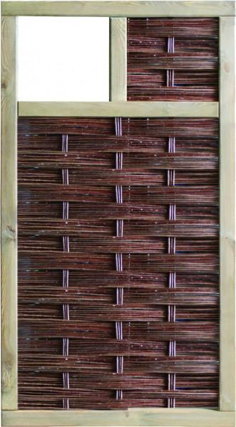 LABO-3D Weidengeflechtzaun 94 x 180 cm, 1 Fenster oben Rahmen 70 x 35 mm