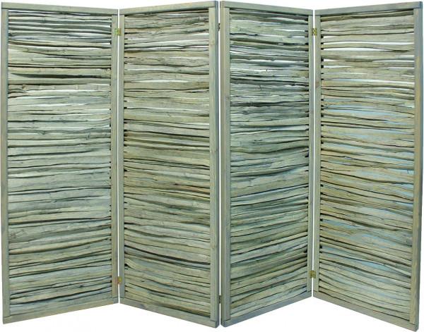 ESMERALDA Paravent 4teilig B 240 x H 160 cm, montiert Haselnuss gespalten, grau lasiert