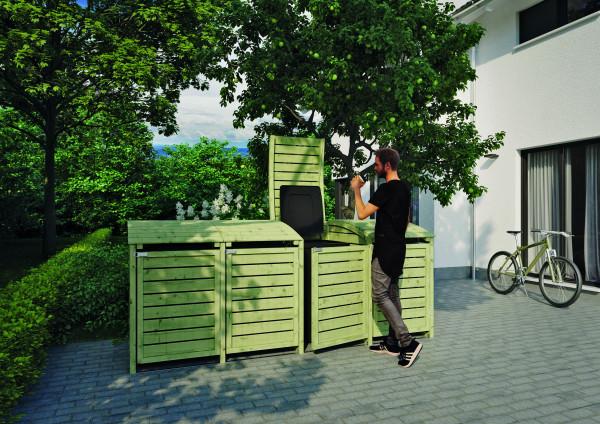 HENRI Mülltonnenabtrennung 4-fach B 300 x T 90 x H 120 cm, inkl. Rückwand