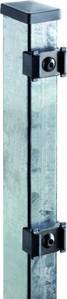 TOM ECK-Zaunpfosten feuerverzinkt f. 1430 mm Zaun, RR60/40 x 2000 mm mit Klemmhalter