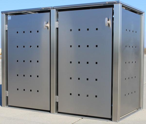 ICKING 2er-Müllbox Edelstahl B 1530 x T 795 x H 1160 mm für 2 Tonnen bis 240 l Edelstahl gebürstet