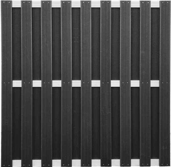 ELLGAU-Serie ANTHRAZIT 180 x 180 cm, WPC-Bretterzaun 3 Querriegel ALU hell eloxiert