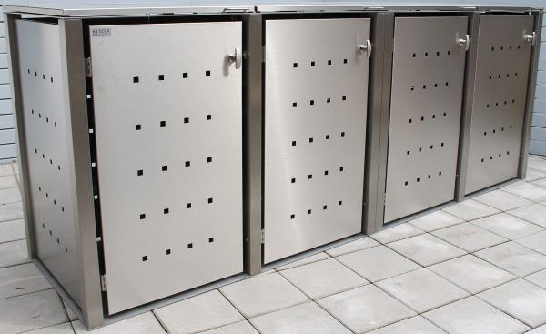 ICKING 4er-Müllbox Edelstahl B 3060 x T 795 x H 1160 mm für 4 Tonnen bis 240 l Edelstahl gebürstet