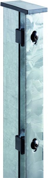 JERRY Eck-Zaunpfosten feuerverzinkt f. 1430 mm Zaun, RR60/40 x 2000 mm mit Flacheisenleiste
