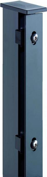 JERRY Eck-Zaunpfosten RAL 7016 anthrazit f. 2030 mm Zaun, RR60/40 x 2600 mm mit Flacheisenleiste