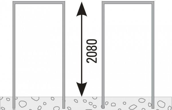 VETRO Pfosten-Zarge, V2A Achsmaß 105,5 mm zum Einbetonieren, DIN Rechts #85139