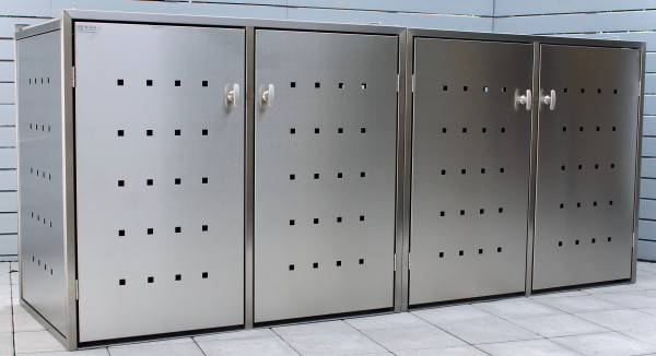 IRSEE 4er-Müllbox Edelstahl B 2640 x T 800 x H 1120 mm für 4 Tonnen bis 240 l Edelstahl gebürstet