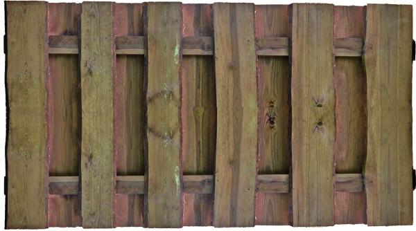 SEELAND-Serie kd-braun 180 x 90 cm, Bretter sägerauh, mit Baumkante ca. 16mm, Riegel 30/80 mm