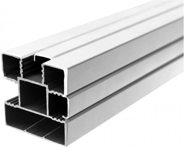 ECOSTECK-Pfosten Aluminium SILBER, 68 x 68 x 1800 mm inkl. Abstandhalter, Schienen + Kappen