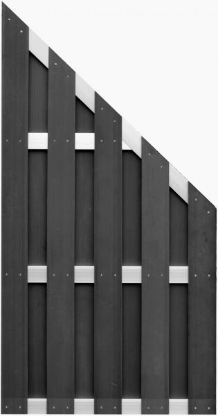 ELDENA-Serie-Ecke ANTHRAZIT 90 x 180/90 cm, WPC-Bretterzaun 4 Querriegel ALU hell eloxiert
