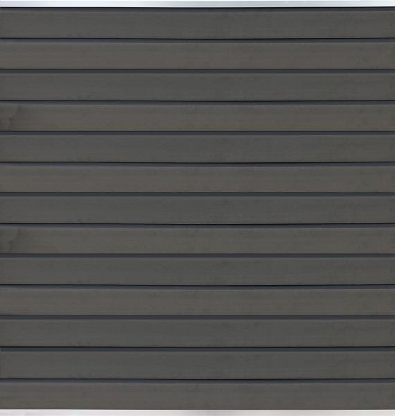 WOLLBACH-Serie GRAU ca. 175 x 180 cm, WPC-Steckzaun-Set inkl. Start & Abschluss silber Lamellen ca.