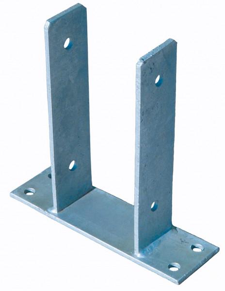 Pfostenträger zum Aufschrauben 9 x 9 cm feuerverzinkt, für Pfosten 9 x 9 cm mit seitl. Lasche