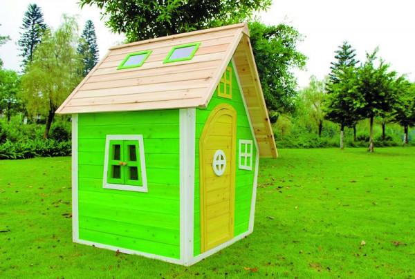 FRANZI-Kinderspielhaus 125 x 130 x 158 cm Fichte, teilw. farbig behandelt >>> 3 KARTONS <<<